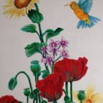 Anne Marie Oliver, floral, birds, nature, sunflowers, art, drawing, painting